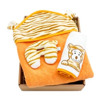 【hipopipo小西波彌月首選】小虎彩色包澡巾禮盒(B款)